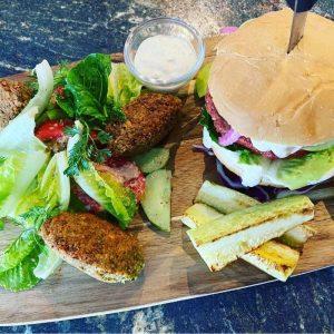 Vegan Burger and Falafel with Georgian Salad Vegan Combo