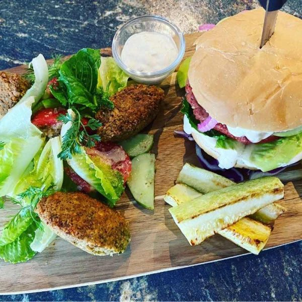 Vegan Burger and Falafel with Georgian Salad Vegan Combo