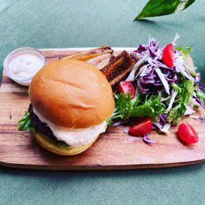 zen burger with a potato bun